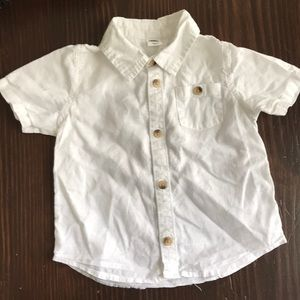 Baby boy white short sleeve button up